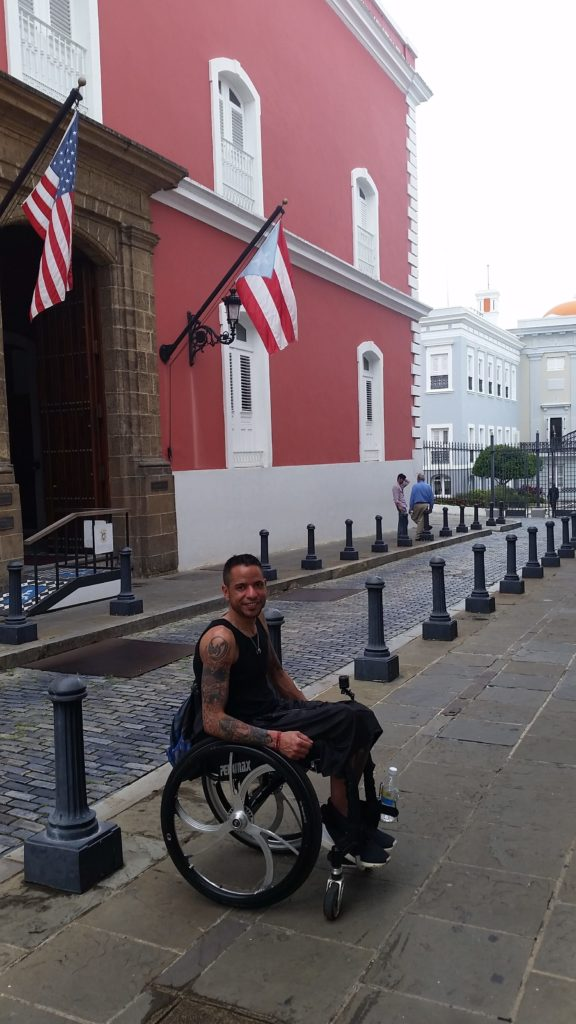 Orlando in front of La Fortaleza in Old San Juan, Residence of the Governor of Puerto Rico