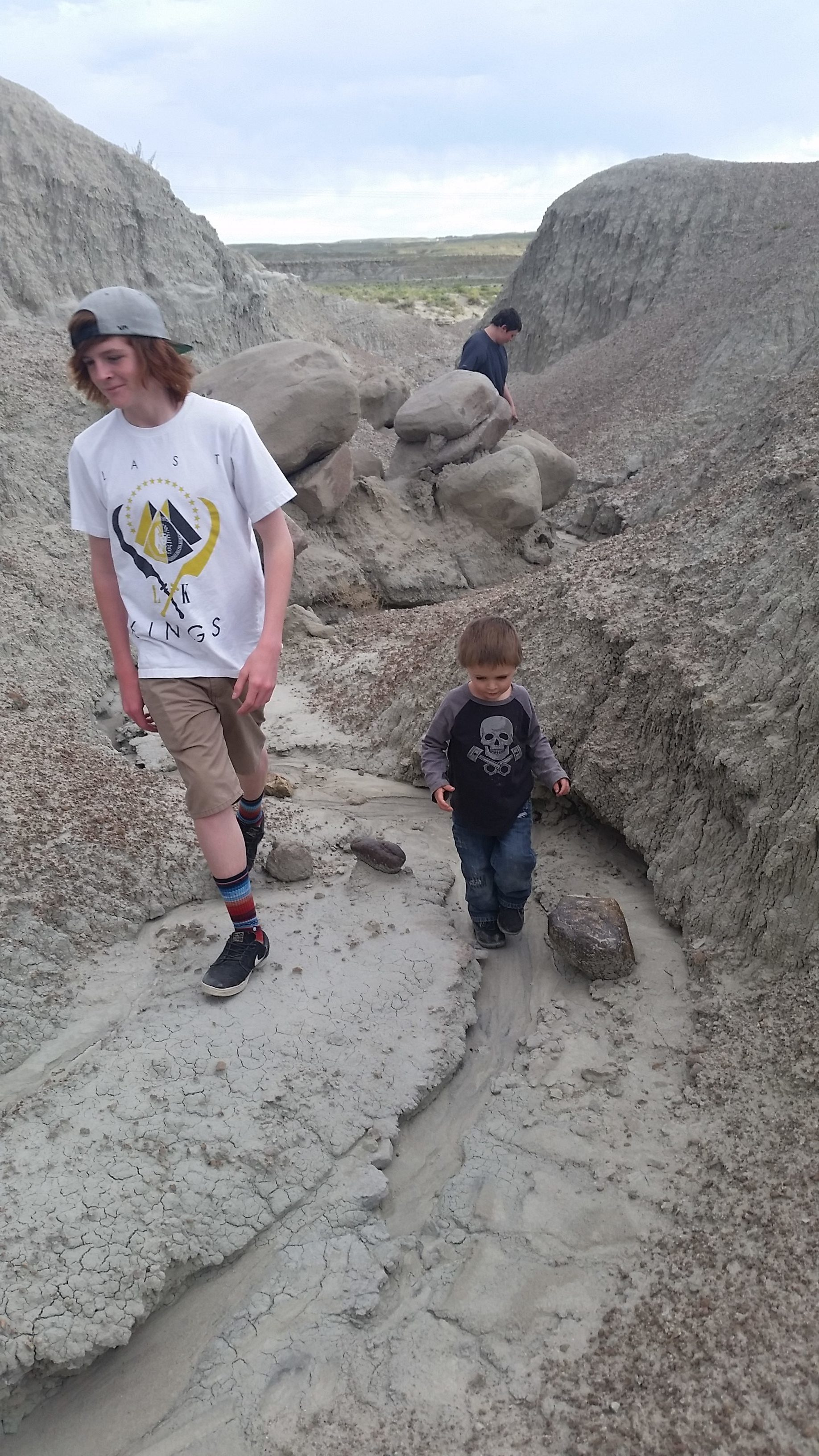 All three of my boys exploring the terrain near Fantasy Canyon.