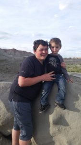 My two youngest boys (ages 14 and 2). Again, I think the landscape in the sun behind them is the ACTUAL Fantasy Canyon