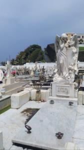 Lifesize weeping angel at Santa Maria Magdalena de Pazzis Cemetery, Puerto Rico