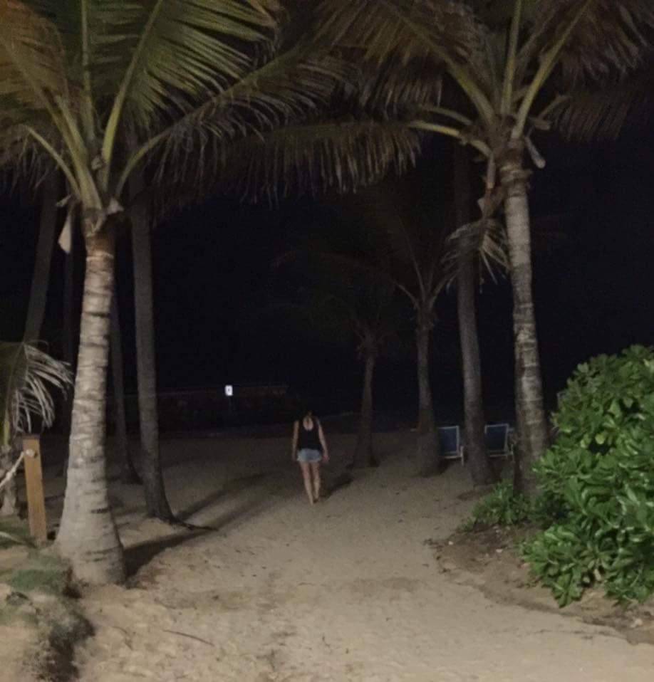Marcy walking path to Condado Beach, Puerto Rico at night