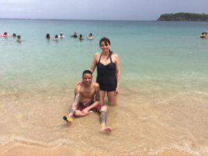 Orlando and Marcy in water at Cerro Gordo Beach, Vega Alta Puerto Rico