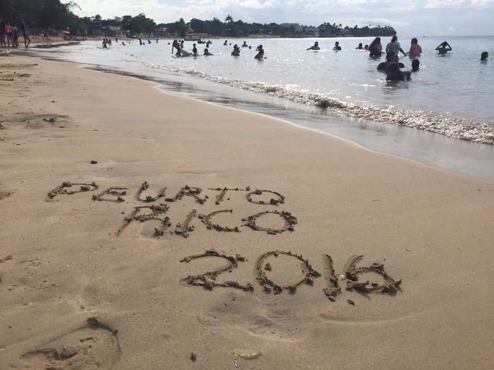 """Words in Sand on Cerro Gordo Beach, Vega Alta Puerto Rico: """"Puerto Rico 2016"""""""