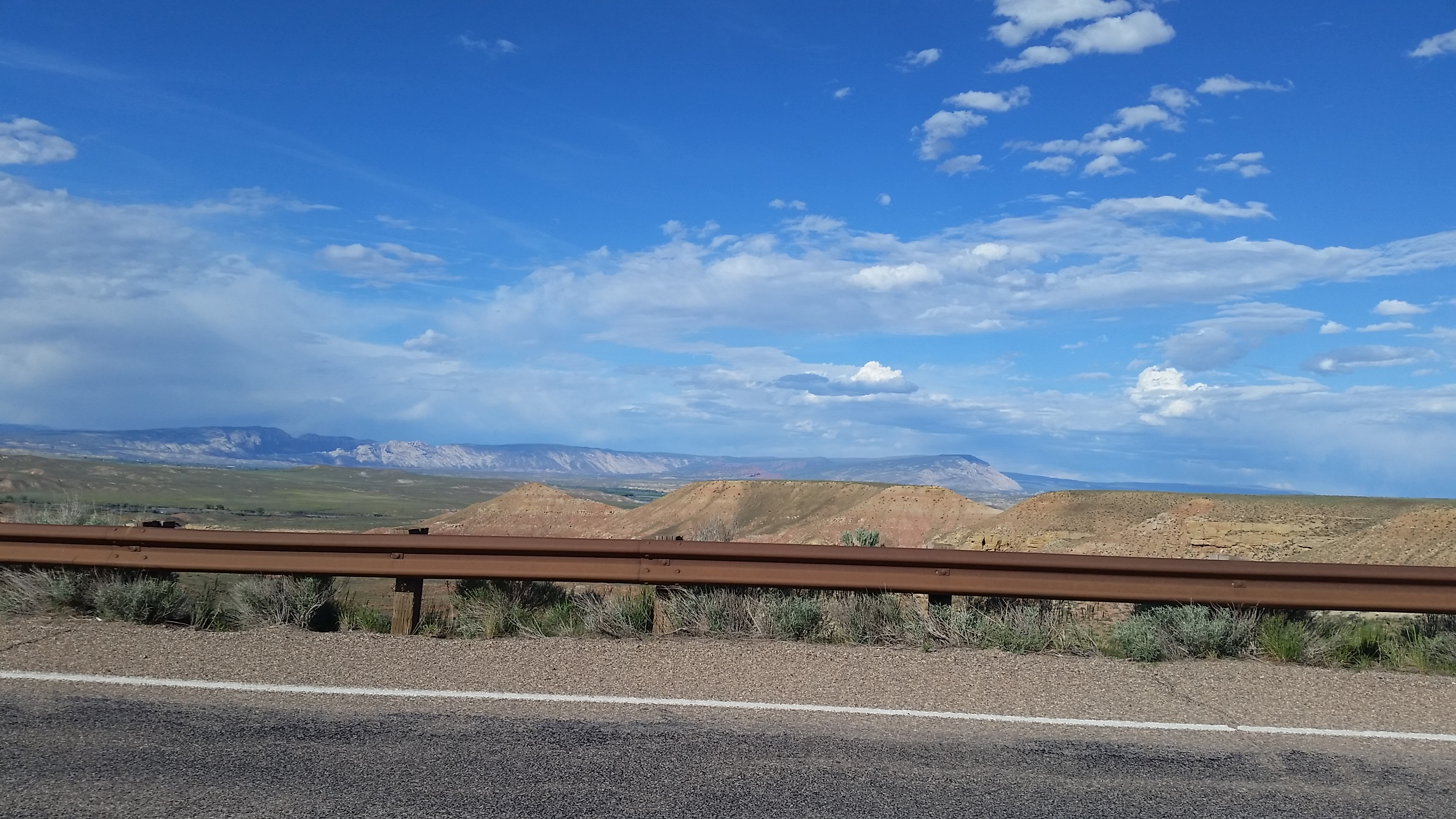 Picture taken from road south of Vernal with Split Mountain and Blue Mountain in the distance.