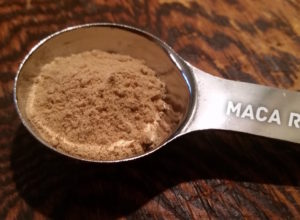 Ground Maca Root in a Silver Spoon
